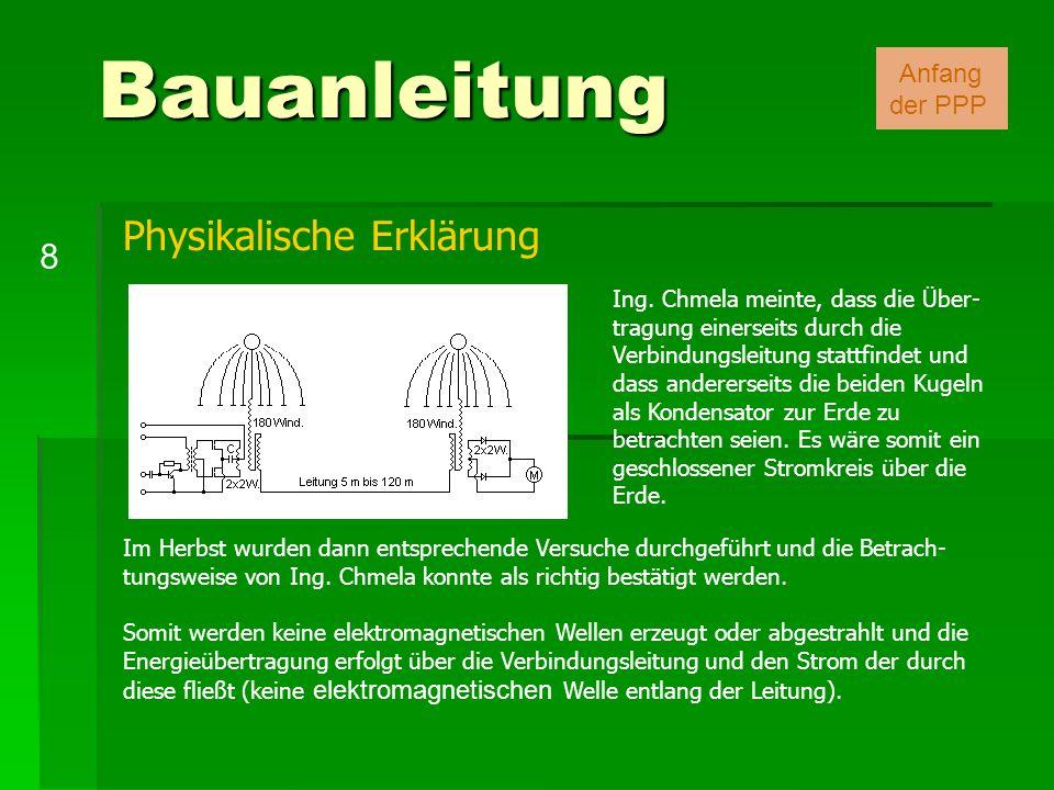 Bauanleitung 8 Anfang der PPP Ing. Chmela meinte, dass die Über- tragung einerseits durch die Verbindungsleitung stattfindet und dass andererseits die