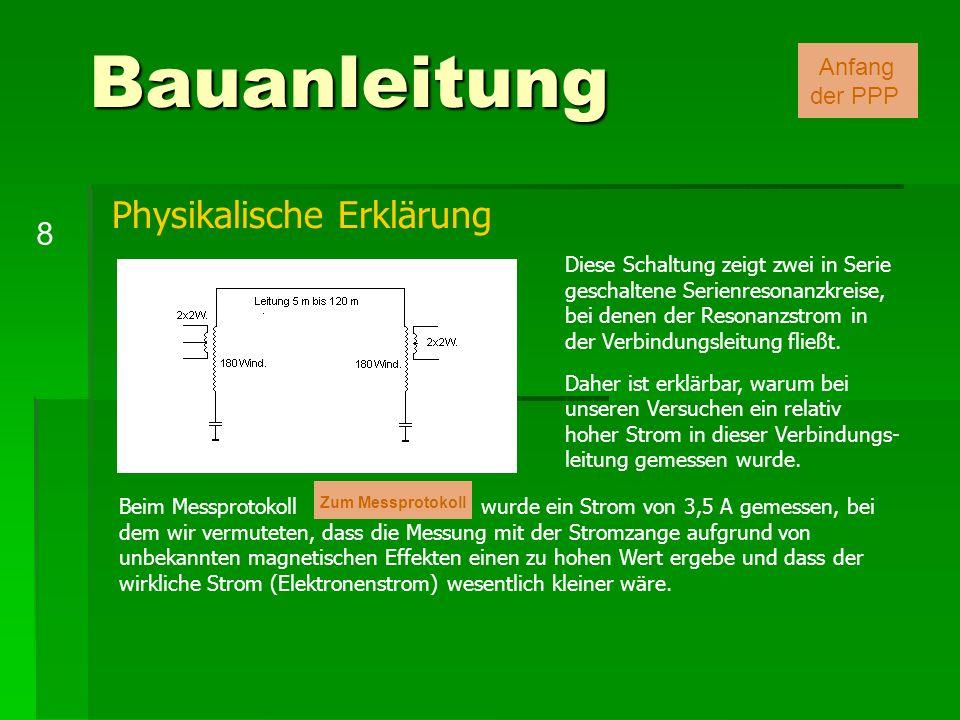 Bauanleitung 8 Anfang der PPP Diese Schaltung zeigt zwei in Serie geschaltene Serienresonanzkreise, bei denen der Resonanzstrom in der Verbindungsleit