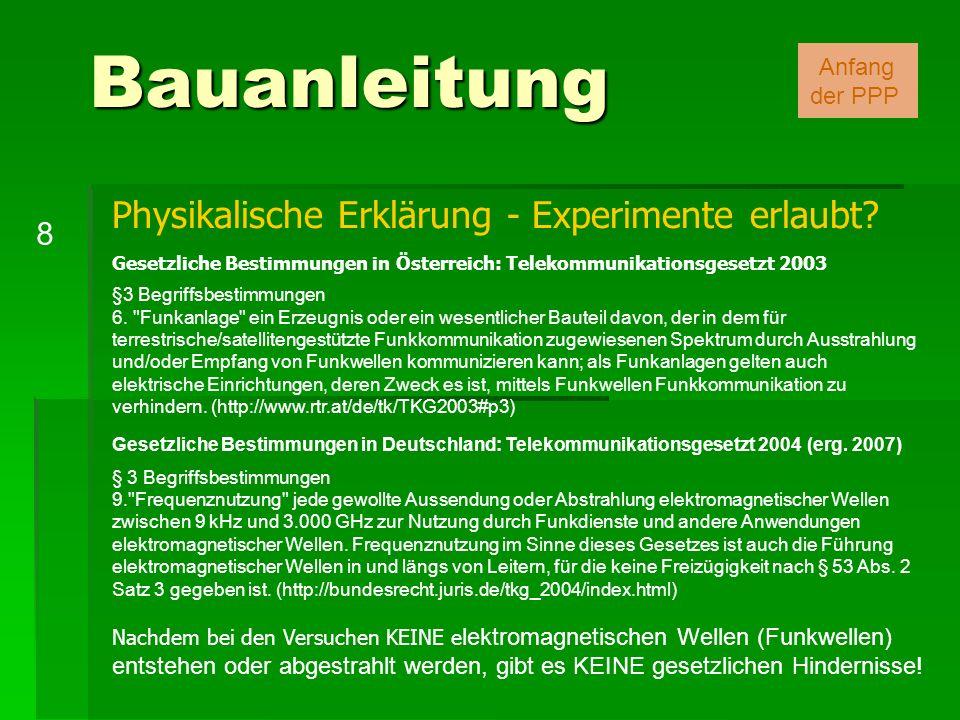 Bauanleitung 8 Anfang der PPP Physikalische Erklärung - Experimente erlaubt? Gesetzliche Bestimmungen in Österreich: Telekommunikationsgesetzt 2003 §3