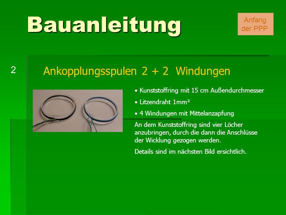 Ankopplungsspulen 2 + 2 Windungen Kunststoffring mit 15 cm Außendurchmesser Litzendraht 1mm² 4 Windungen mit Mittelanzapfung An dem Kunststoffring sin