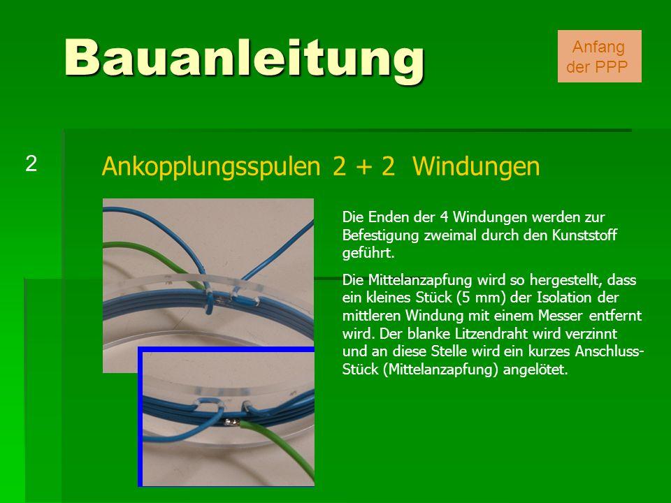 Ankopplungsspulen 2 + 2 Windungen Die Enden der 4 Windungen werden zur Befestigung zweimal durch den Kunststoff geführt. Die Mittelanzapfung wird so h