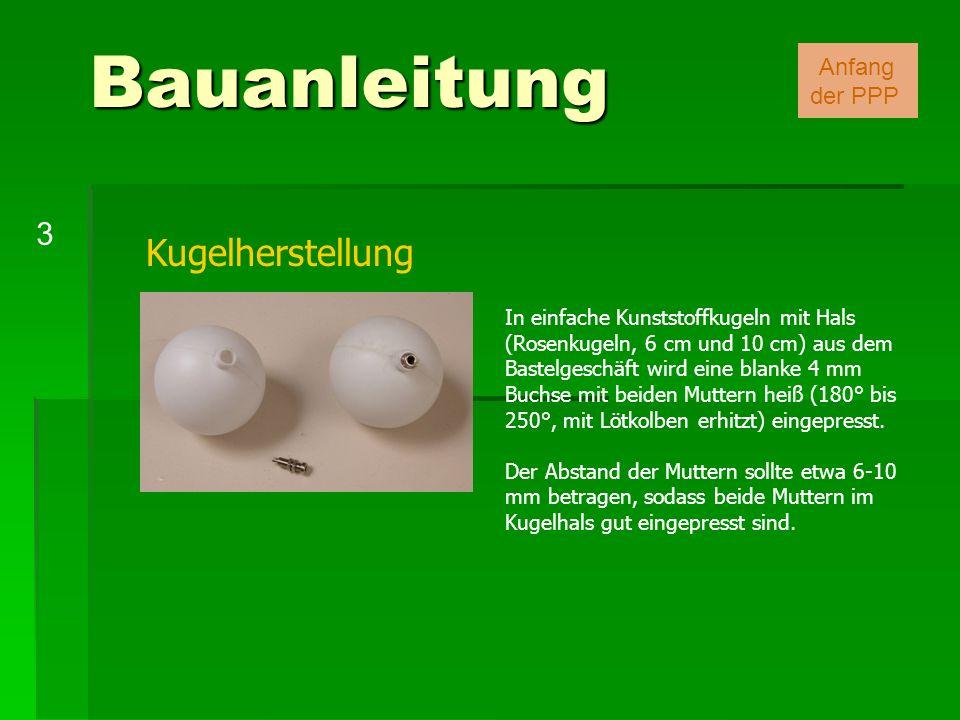 Kugelherstellung In einfache Kunststoffkugeln mit Hals (Rosenkugeln, 6 cm und 10 cm) aus dem Bastelgeschäft wird eine blanke 4 mm Buchse mit beiden Mu