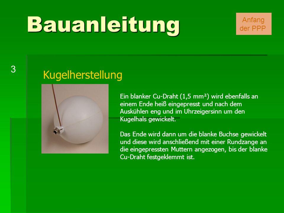 Kugelherstellung Ein blanker Cu-Draht (1,5 mm²) wird ebenfalls an einem Ende heiß eingepresst und nach dem Auskühlen eng und im Uhrzeigersinn um den K
