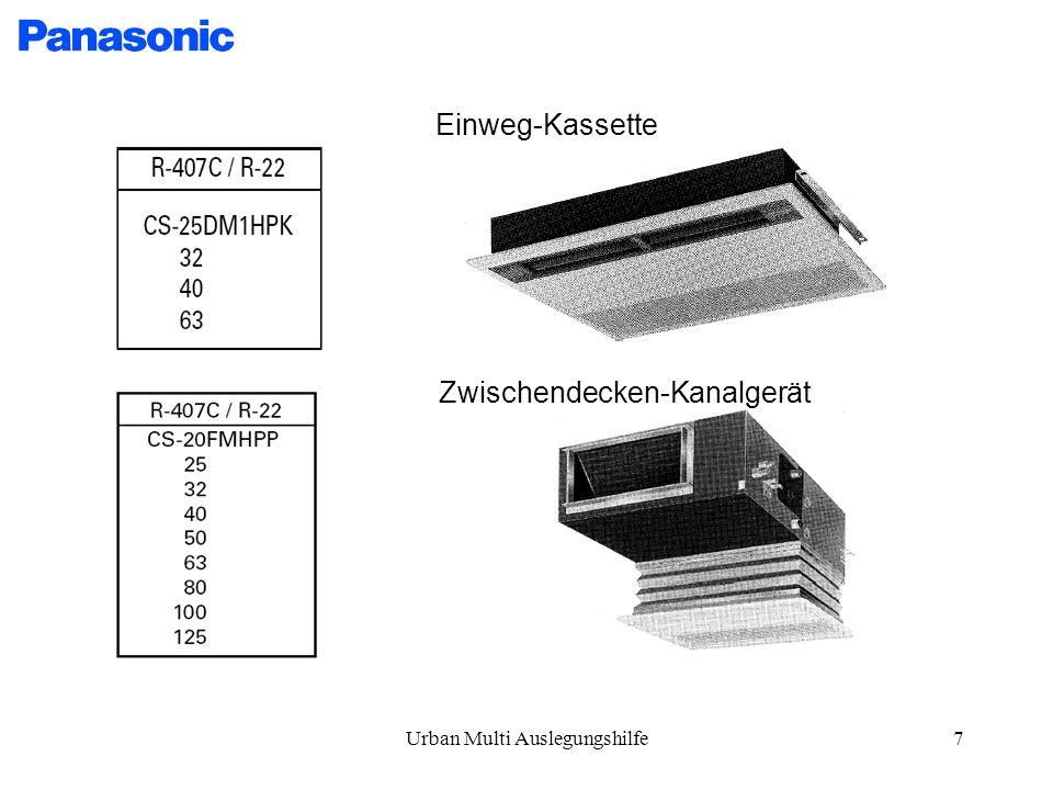 Urban Multi Auslegungshilfe7 Einweg-Kassette Zwischendecken-Kanalgerät