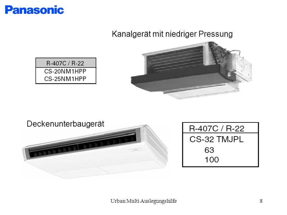 Urban Multi Auslegungshilfe8 Kanalgerät mit niedriger Pressung Deckenunterbaugerät