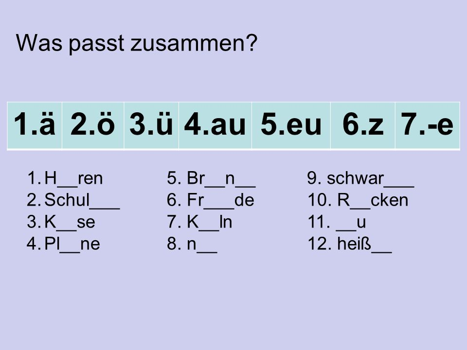 1.ä2.ö3.ü4.au5.eu6.z7.-e 1.H__ren5. Br__n__9. schwar___ 2.Schul___6.