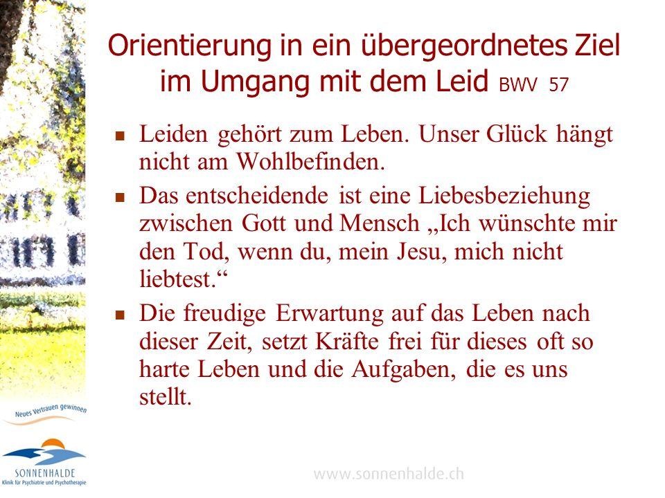 Orientierung in ein übergeordnetes Ziel im Umgang mit dem Leid BWV 57 Leiden gehört zum Leben.