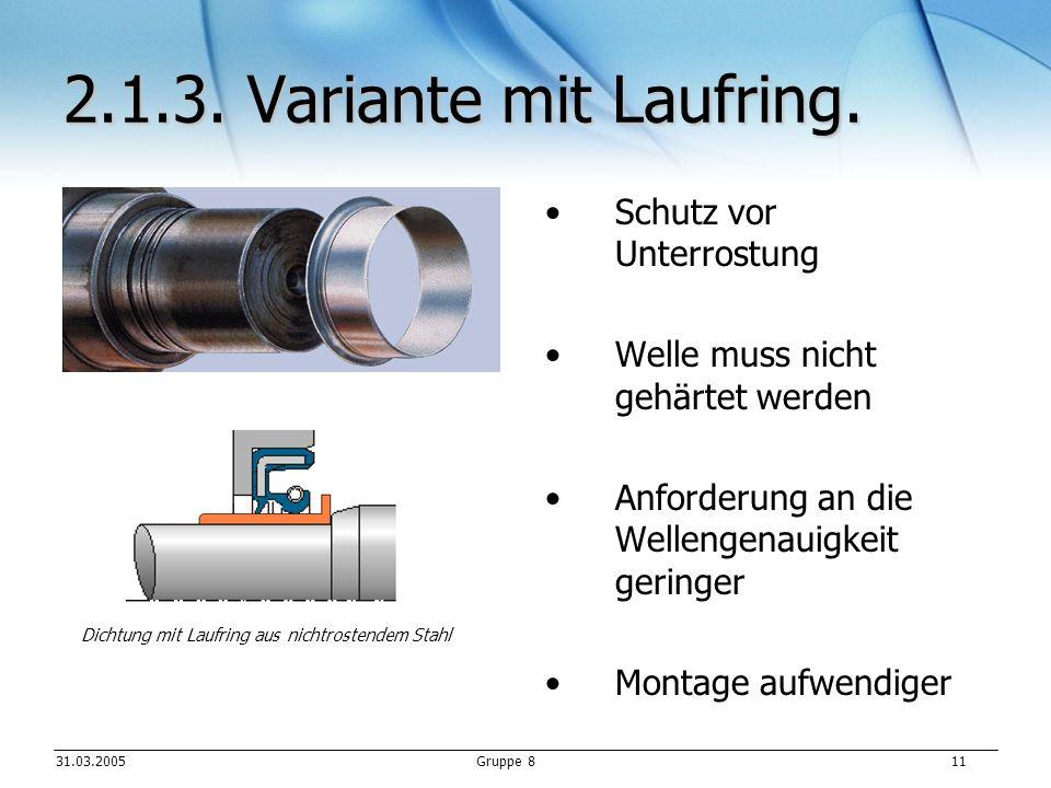 31.03.2005Gruppe 8 11 2.1.3.Variante mit Laufring.