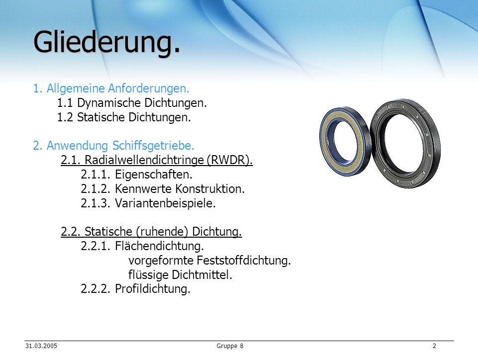 31.03.2005Gruppe 8 3 1.Allgemeine Anforderungen. 1.1 Dynamische Dichtungen.