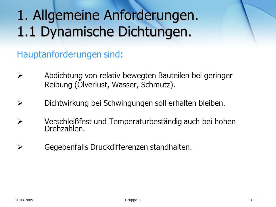31.03.2005Gruppe 8 4 1.Allgemeine Anforderungen. 1.2 Statische Dichtungen.
