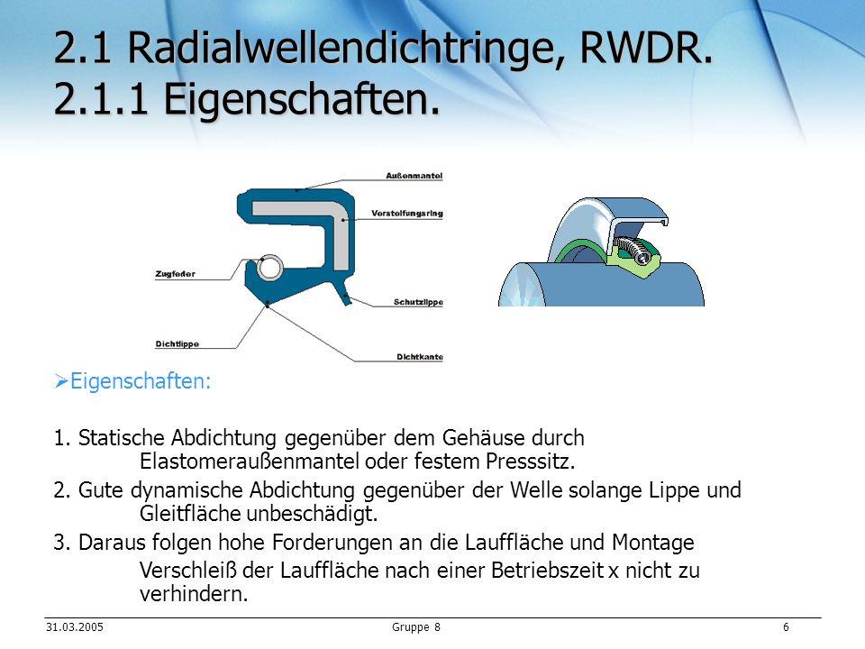 31.03.2005Gruppe 8 17 Quellenverweis Einbaumaße:www.simrit.dewww.simrit.de Roloff/Matek Tabellen S.178 ff Zeich.