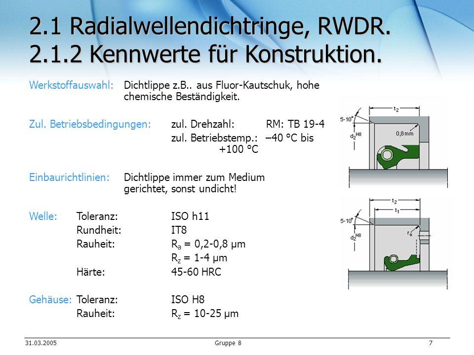 31.03.2005Gruppe 8 7 Werkstoffauswahl: Dichtlippe z.B..