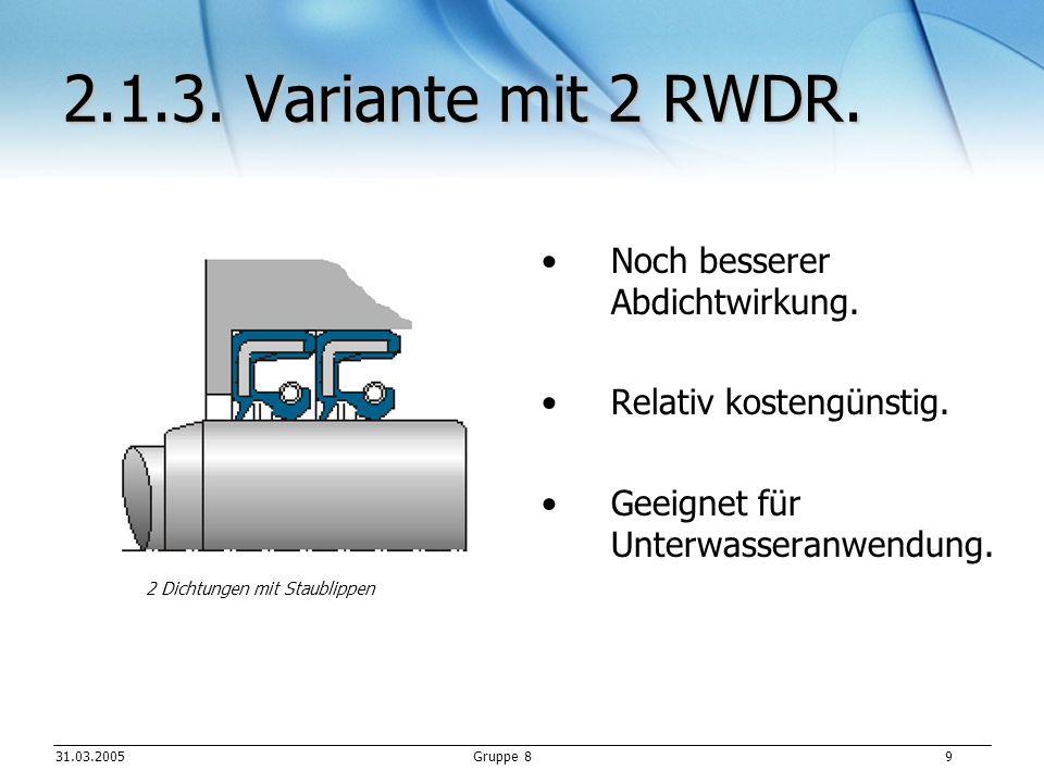 31.03.2005Gruppe 8 9 2.1.3.Variante mit 2 RWDR. Noch besserer Abdichtwirkung.