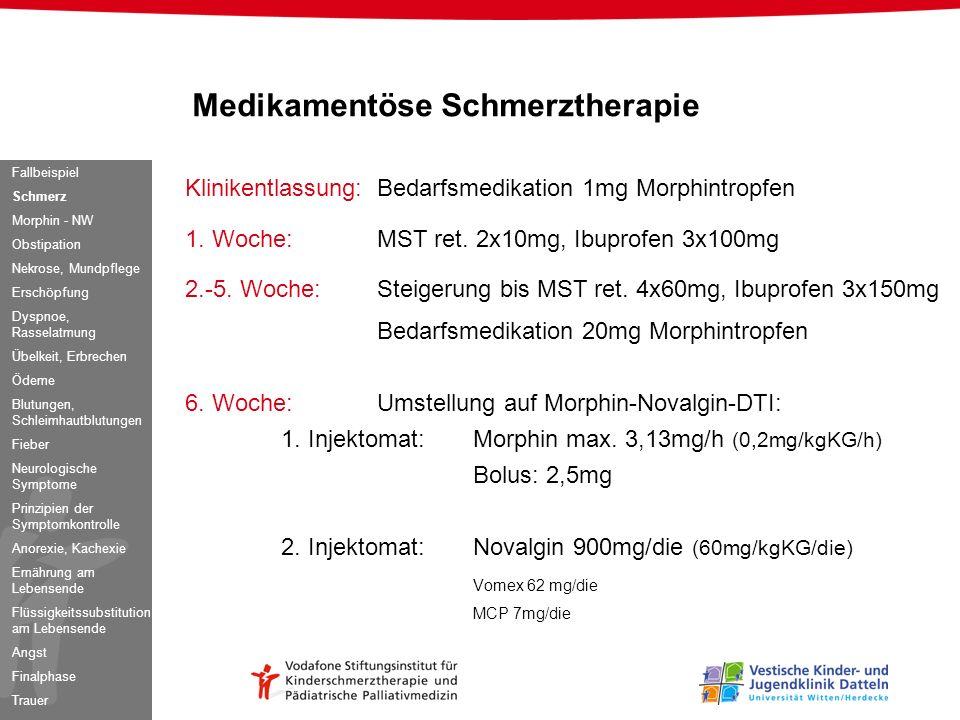 Klinikentlassung: Bedarfsmedikation 1mg Morphintropfen 1. Woche:MST ret. 2x10mg, Ibuprofen 3x100mg 2.-5. Woche:Steigerung bis MST ret. 4x60mg, Ibuprof