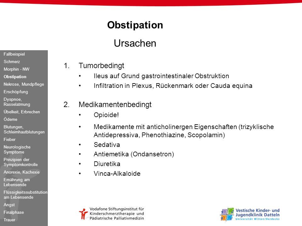 Obstipation Ursachen 1.Tumorbedingt Ileus auf Grund gastrointestinaler Obstruktion Infiltration in Plexus, Rückenmark oder Cauda equina 2.Medikamenten