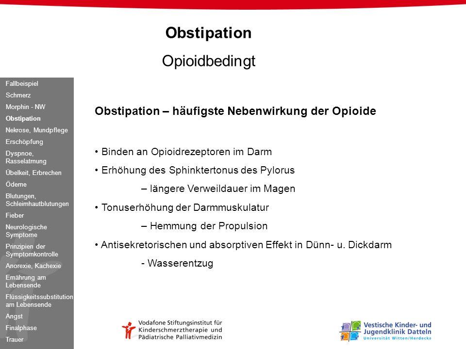 Obstipation Opioidbedingt Obstipation – häufigste Nebenwirkung der Opioide Binden an Opioidrezeptoren im Darm Erhöhung des Sphinktertonus des Pylorus