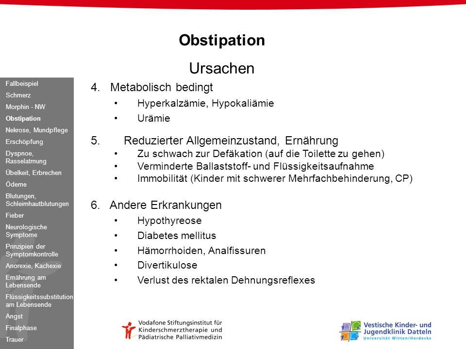 Obstipation Ursachen 4. Metabolisch bedingt Hyperkalzämie, Hypokaliämie Urämie 5. Reduzierter Allgemeinzustand, Ernährung Zu schwach zur Defäkation (a