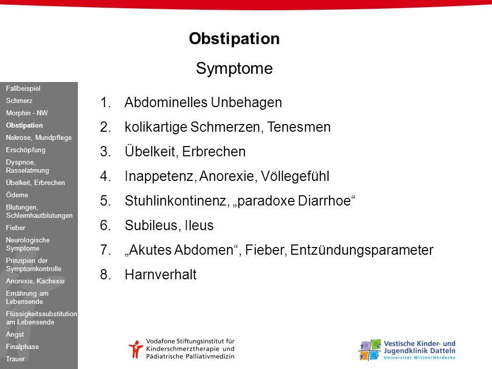 Obstipation Symptome 1.Abdominelles Unbehagen 2.kolikartige Schmerzen, Tenesmen 3.Übelkeit, Erbrechen 4.Inappetenz, Anorexie, Völlegefühl 5.Stuhlinkon