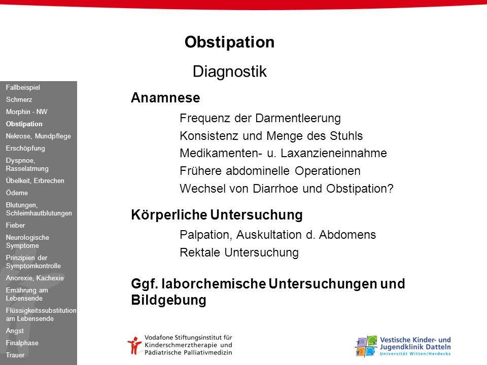 Obstipation Diagnostik Anamnese Frequenz der Darmentleerung Konsistenz und Menge des Stuhls Medikamenten- u. Laxanzieneinnahme Frühere abdominelle Ope