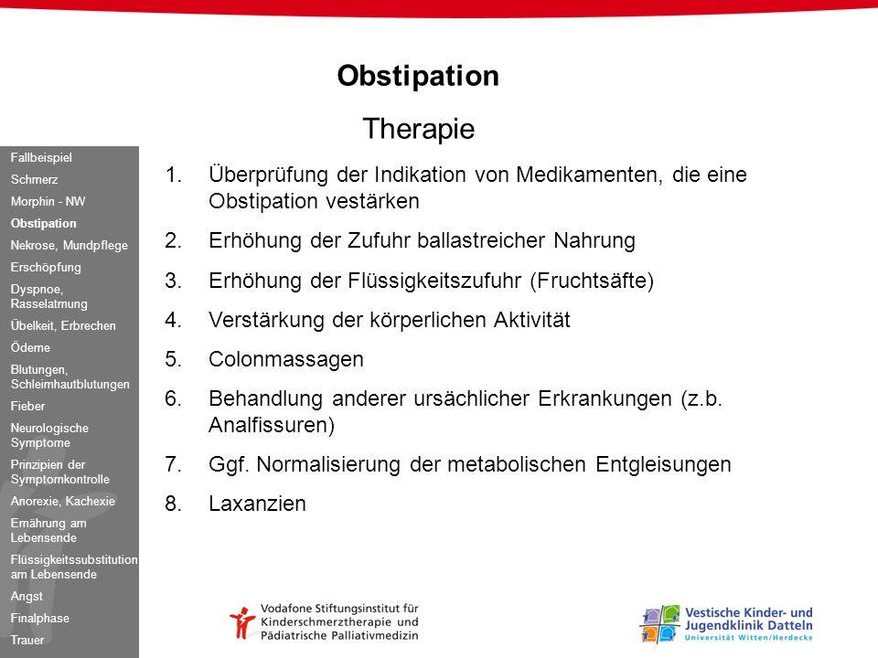 Obstipation Therapie 1.Überprüfung der Indikation von Medikamenten, die eine Obstipation vestärken 2.Erhöhung der Zufuhr ballastreicher Nahrung 3.Erhö