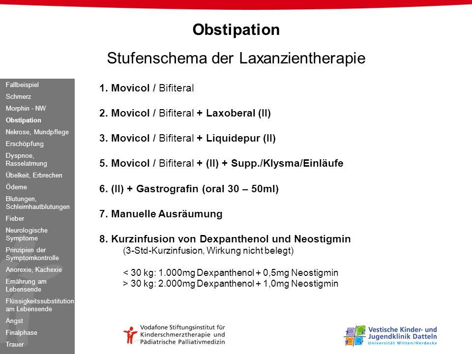 1. Movicol / Bifiteral 2. Movicol / Bifiteral + Laxoberal (II) 3. Movicol / Bifiteral + Liquidepur (II) 5. Movicol / Bifiteral + (II) + Supp./Klysma/E