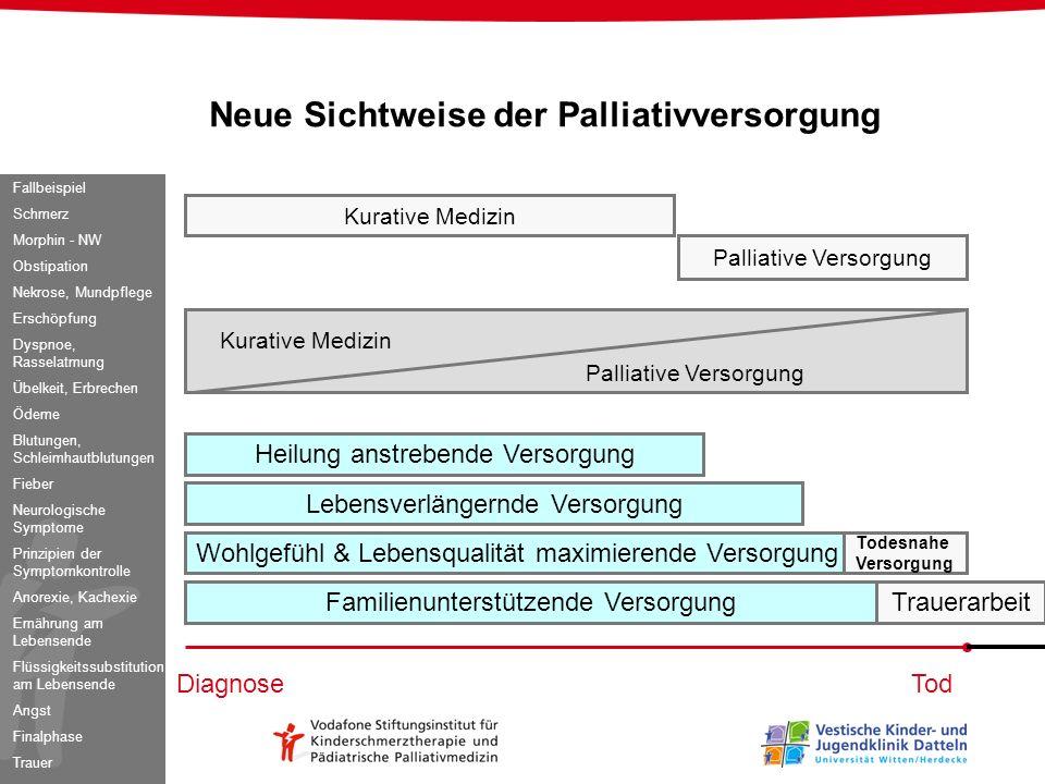 Neue Sichtweise der Palliativversorgung Kurative Medizin Palliative Versorgung Kurative Medizin Palliative Versorgung DiagnoseTod Heilung anstrebende