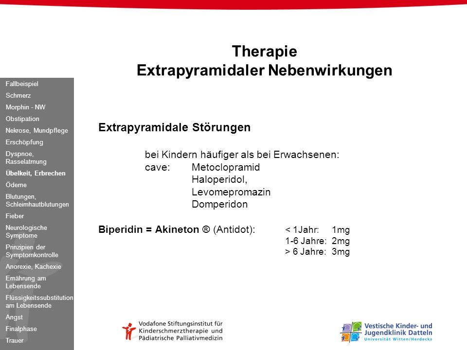Extrapyramidale Störungen bei Kindern häufiger als bei Erwachsenen: cave:Metoclopramid Haloperidol, Levomepromazin Domperidon Biperidin = Akineton ® (