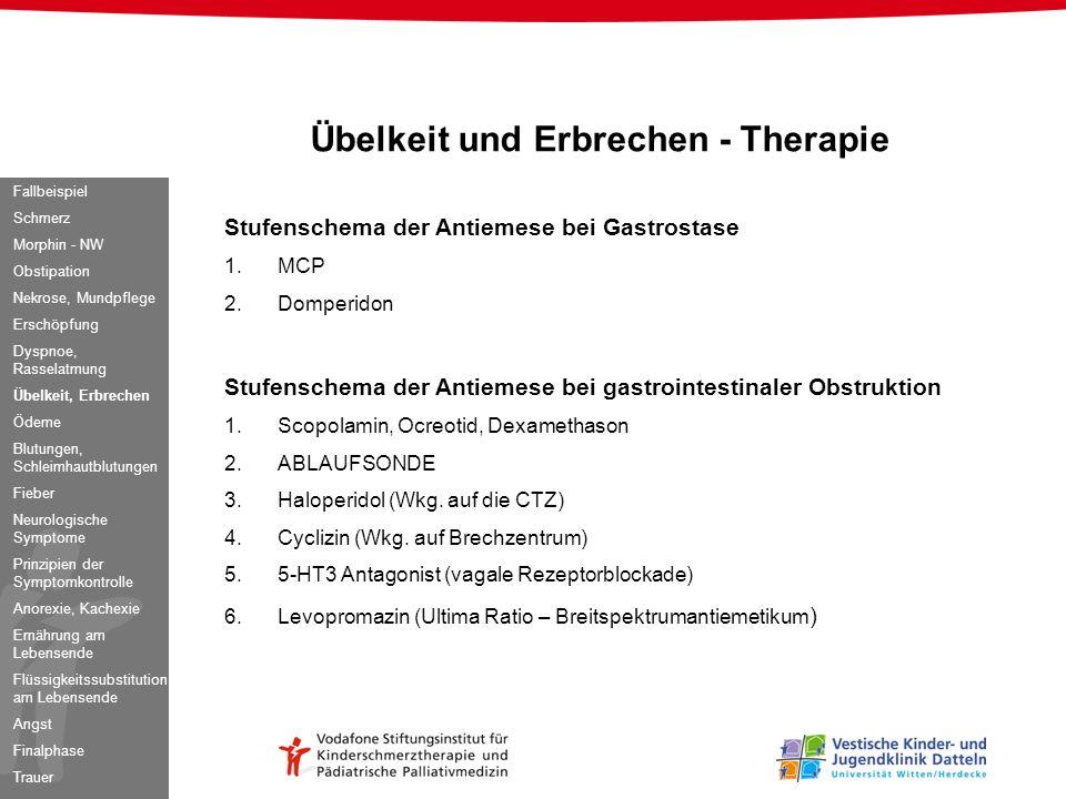 Übelkeit und Erbrechen - Therapie Stufenschema der Antiemese bei Gastrostase 1.MCP 2.Domperidon Stufenschema der Antiemese bei gastrointestinaler Obst