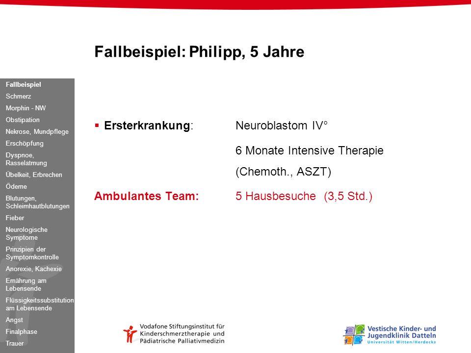 Fallbeispiel: Philipp, 5 Jahre Ersterkrankung:Neuroblastom IV° 6 Monate Intensive Therapie (Chemoth., ASZT) Ambulantes Team:5 Hausbesuche (3,5 Std.) F