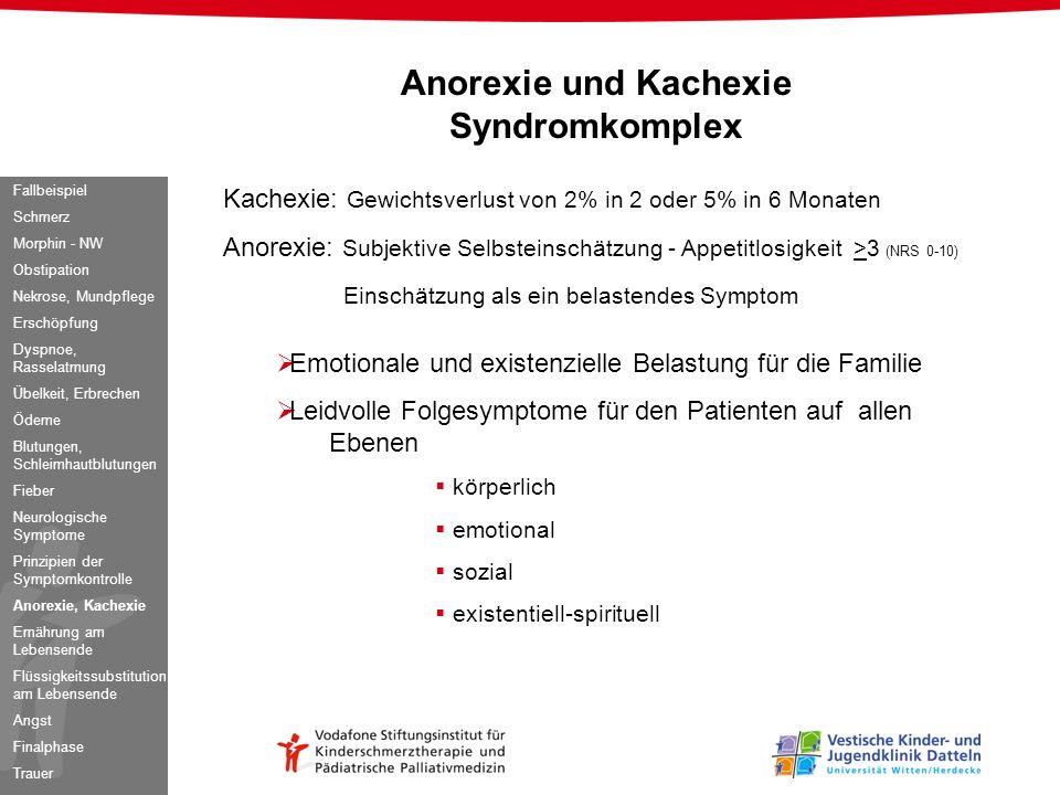 Anorexie und Kachexie Syndromkomplex Kachexie: Gewichtsverlust von 2% in 2 oder 5% in 6 Monaten Anorexie: Subjektive Selbsteinschätzung - Appetitlosig