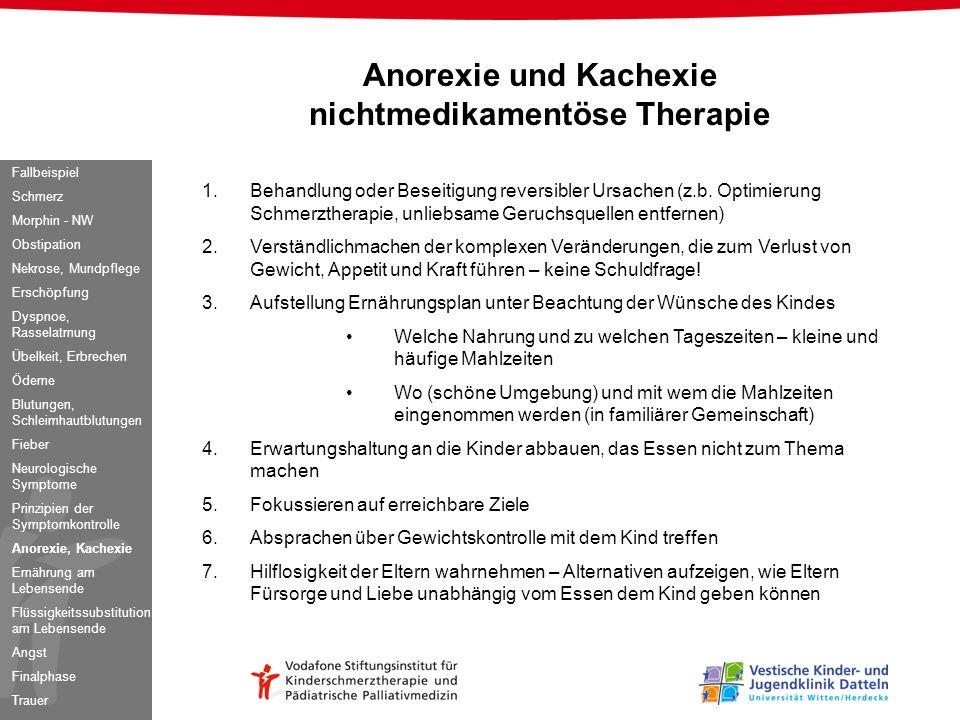 Anorexie und Kachexie nichtmedikamentöse Therapie 1.Behandlung oder Beseitigung reversibler Ursachen (z.b. Optimierung Schmerztherapie, unliebsame Ger