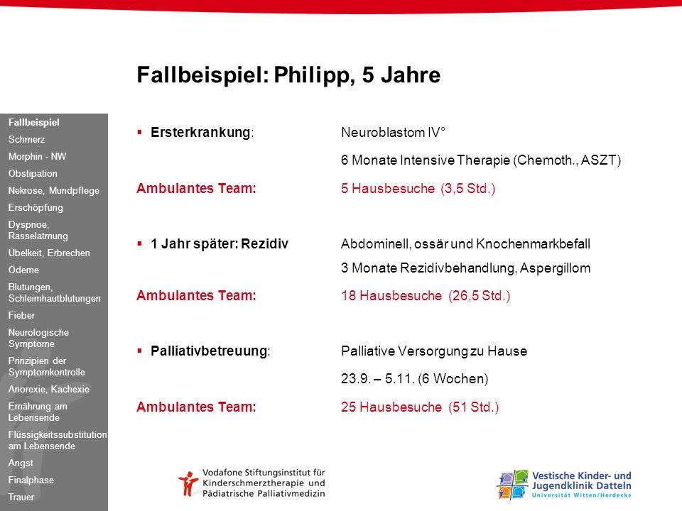 Fallbeispiel: Philipp, 5 Jahre Ersterkrankung:Neuroblastom IV° 6 Monate Intensive Therapie (Chemoth., ASZT) Ambulantes Team:5 Hausbesuche (3,5 Std.) 1