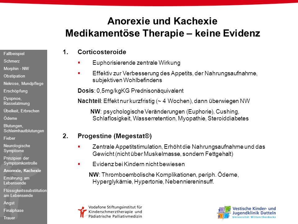 Anorexie und Kachexie Medikamentöse Therapie – keine Evidenz 1.Corticosteroide Euphorisierende zentrale Wirkung Effektiv zur Verbesserung des Appetits