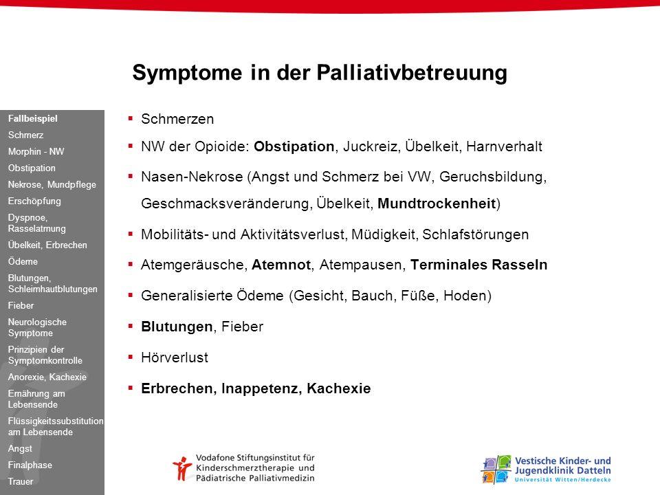 Schmerzen NW der Opioide: Obstipation, Juckreiz, Übelkeit, Harnverhalt Nasen-Nekrose (Angst und Schmerz bei VW, Geruchsbildung, Geschmacksveränderung,
