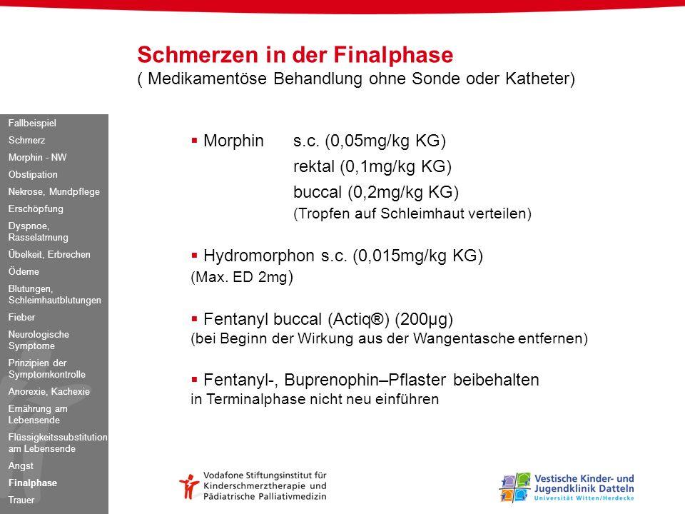 Schmerzen in der Finalphase ( Medikamentöse Behandlung ohne Sonde oder Katheter) Morphins.c. (0,05mg/kg KG) rektal (0,1mg/kg KG) buccal (0,2mg/kg KG)