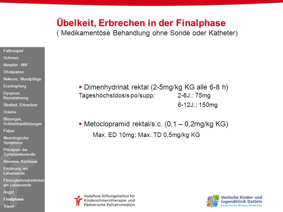 Dimenhydrinat rektal (2-5mg/kg KG alle 6-8 h) Tageshöchstdosis po/supp: 2-6J.: 75mg 6-12J.: 150mg Metoclopramid rektal/s.c. (0,1 – 0,2mg/kg KG) Max. E
