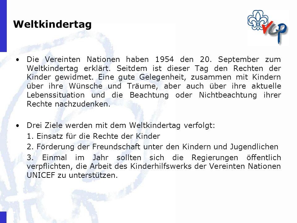 Weltkindertag Die Vereinten Nationen haben 1954 den 20. September zum Weltkindertag erklärt. Seitdem ist dieser Tag den Rechten der Kinder gewidmet. E