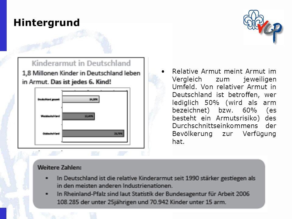 Hintergrund Relative Armut meint Armut im Vergleich zum jeweiligen Umfeld. Von relativer Armut in Deutschland ist betroffen, wer lediglich 50% (wird a