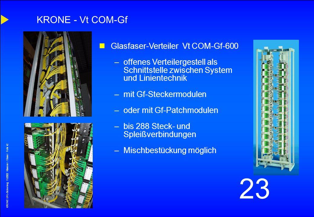 KRONE LWL-Schunlung 11/2002 Klausner / Bauer Folie 41 23 Produktübersicht
