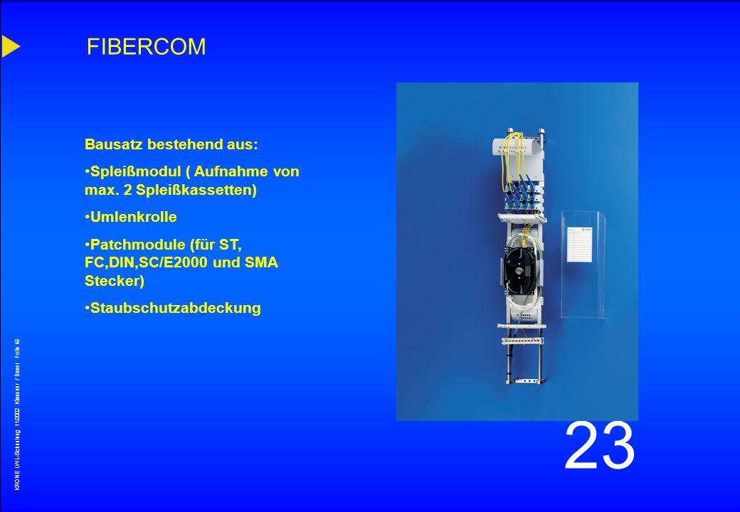 KRONE LWL-Schunlung 11/2002 Klausner / Bauer Folie 48 23 KRONECTION-Box - Säule Ausführung mit KRONECTION- Box A200 Endverzweigersäule für Kupfer und