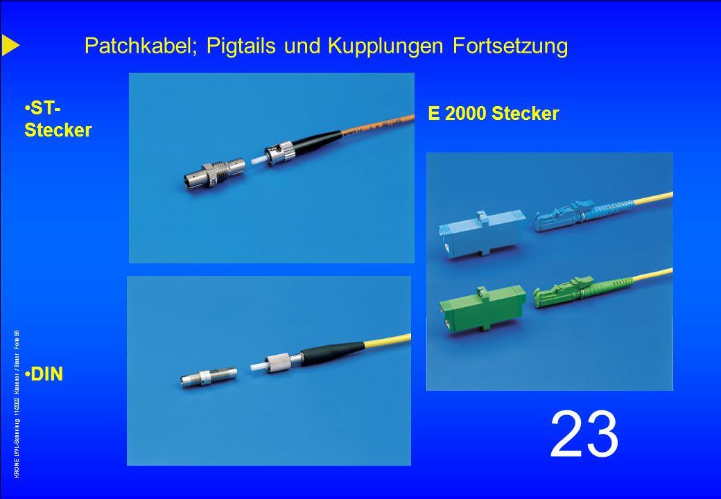KRONE LWL-Schunlung 11/2002 Klausner / Bauer Folie 54 23 FC/PC Patchkabel; Pigtails und Kupplungen Fortsetzung Auch hier die 2 Schliffarten PC (blau)