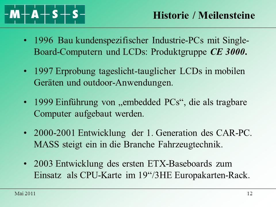 Mai 201112 1996 Bau kundenspezifischer Industrie-PCs mit Single- Board-Computern und LCDs: Produktgruppe CE 3000. 1997 Erprobung tageslicht-tauglicher