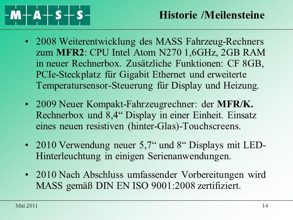 Mai 201114 2008 Weiterentwicklung des MASS Fahrzeug-Rechners zum MFR2: CPU Intel Atom N270 1,6GHz, 2GB RAM in neuer Rechnerbox. Zusätzliche Funktionen