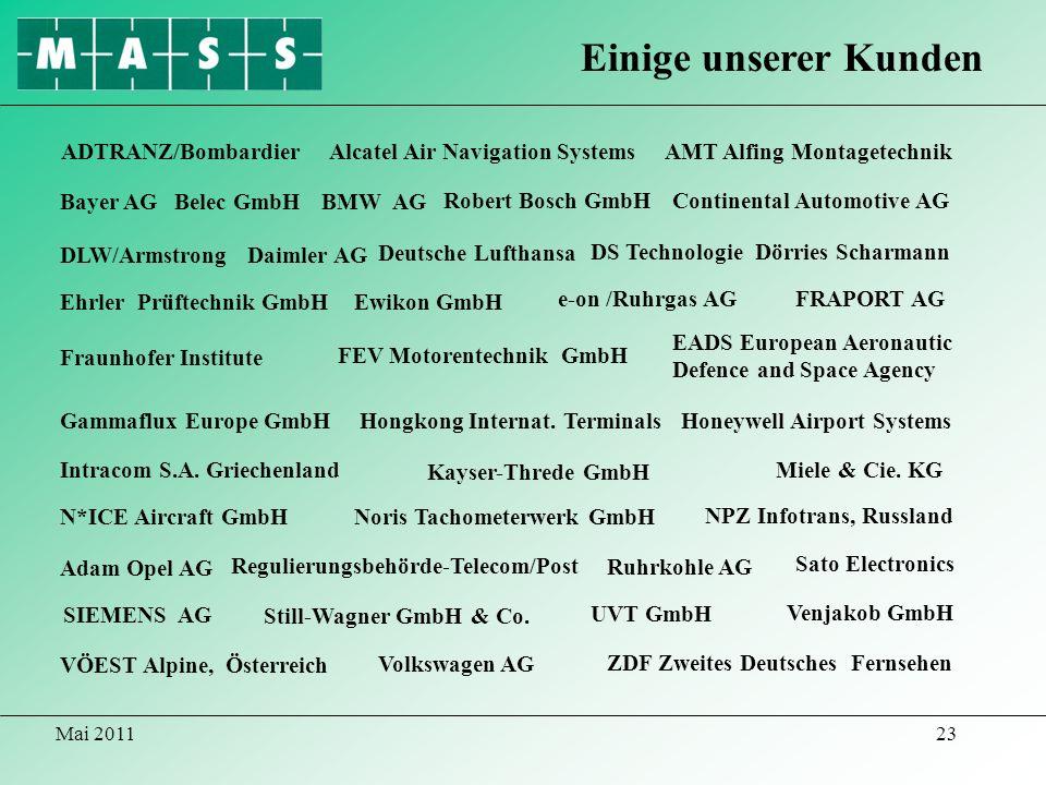 Mai 201123 Einige unserer Kunden ADTRANZ/BombardierAlcatel Air Navigation Systems DLW/Armstrong AMT Alfing Montagetechnik Daimler AG Bayer AG EADS Eur