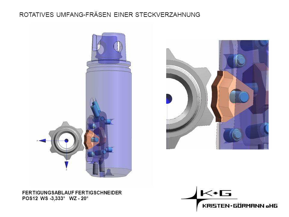 ROTATIVES UMFANG-FRÄSEN EINER STECKVERZAHNUNG FERTIGUNGSABLAUF FERTIGSCHNEIDER POS12 WS -3,333° WZ - 20°