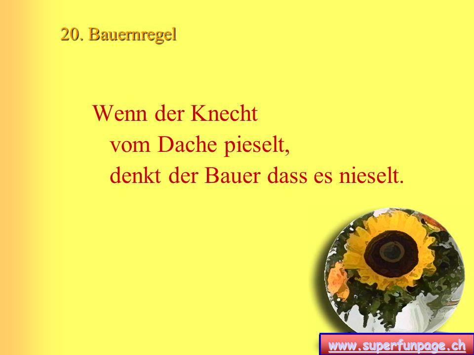 www.superfunpage.ch 20. Bauernregel Wenn der Knecht vom Dache pieselt, denkt der Bauer dass es nieselt.