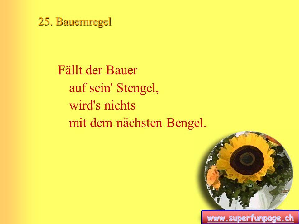 www.superfunpage.ch 25. Bauernregel Fällt der Bauer auf sein' Stengel, wird's nichts mit dem nächsten Bengel.