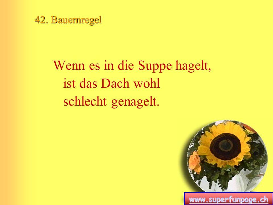 www.superfunpage.ch 42. Bauernregel Wenn es in die Suppe hagelt, ist das Dach wohl schlecht genagelt.