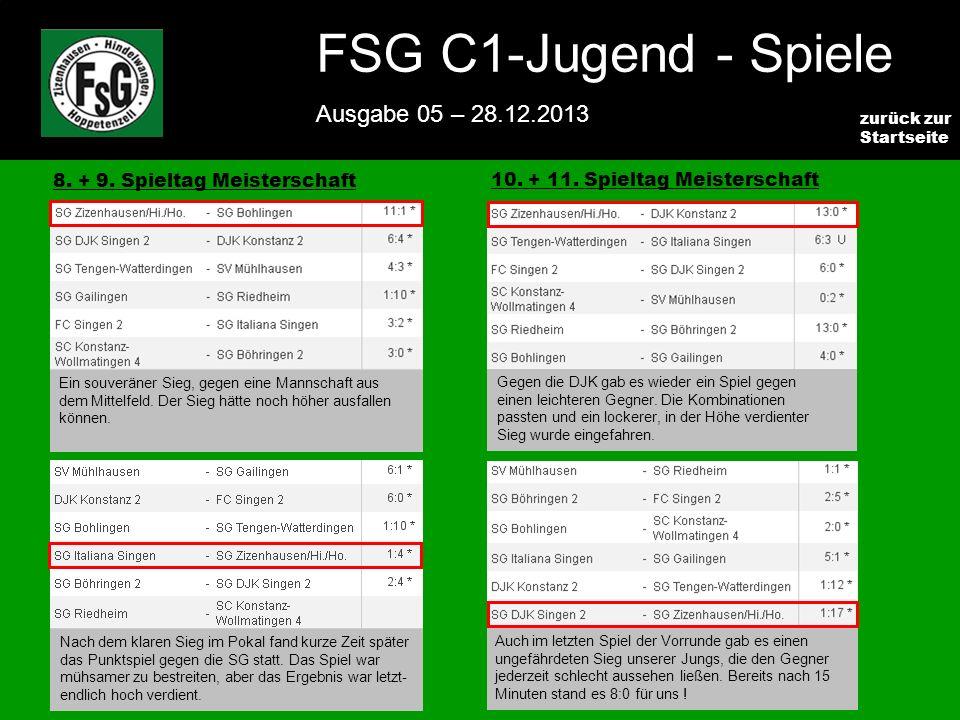 FSG E-Jugend - NEWS Ausgabe 4 – 28.11.2009 2 zurück zur Startseite FSG C1-Jugend - Spiele Ausgabe 05 – 28.12.2013 8.