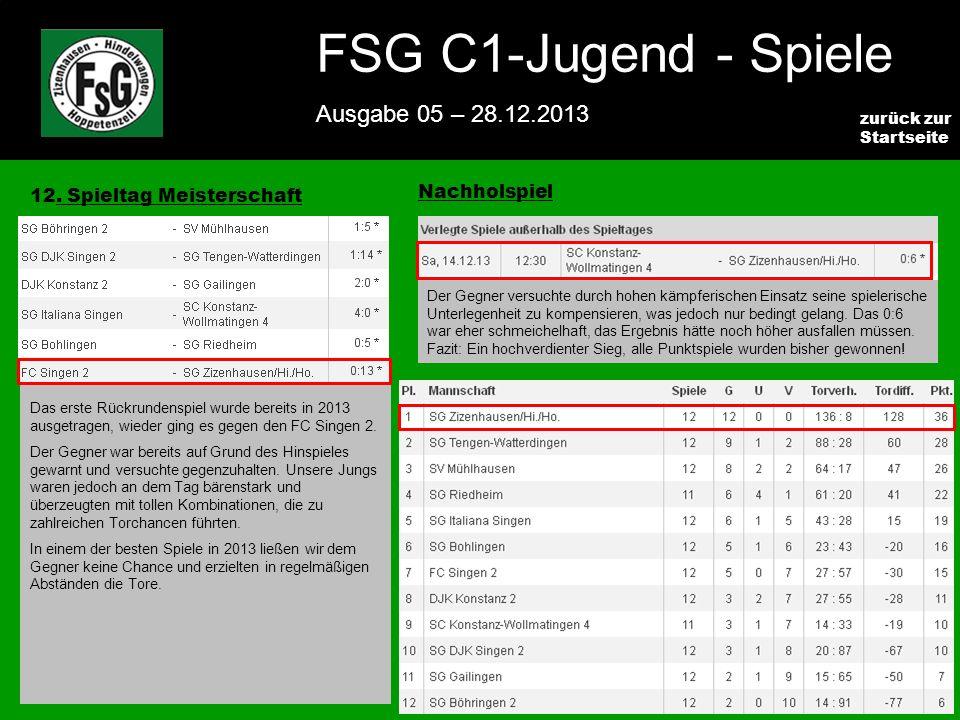 FSG E-Jugend - NEWS Ausgabe 4 – 28.11.2009 3 zurück zur Startseite FSG C1-Jugend - Spiele Ausgabe 05 – 28.12.2013 12.